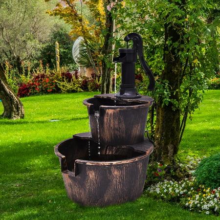 Garden Wall Water Fountain - Gymax 2 Tier Barrel Waterfall Fountain Barrel Water Fountain Pump Outdoor Garden