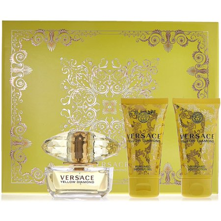 3 Pack - Versace Yellow Diamond 3 Piece Gift Set  1 ea 3 Piece Set Footboard