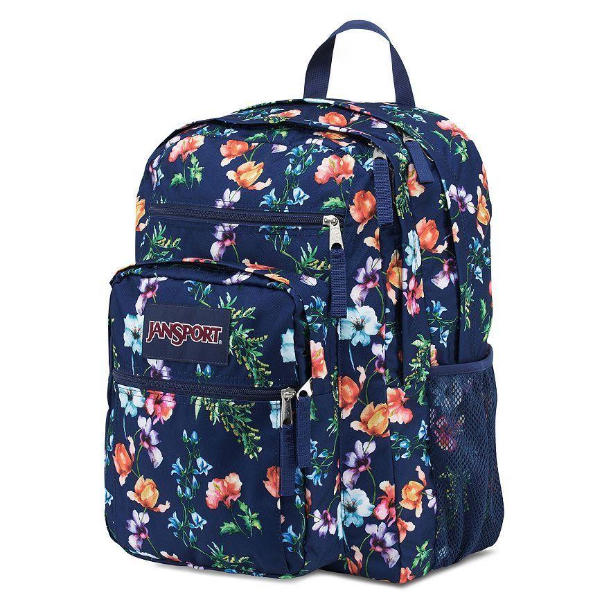 Jansport Big Student Navy Floral Backpack Bag School Book Storage ...