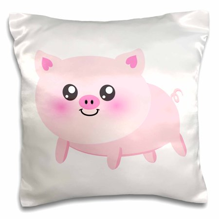 3dRose Cute happy pig cartoon - pink kawaii farm animal - nursery kids child - porker pork bacon ham - Pillow Case, 16 by 16-inch