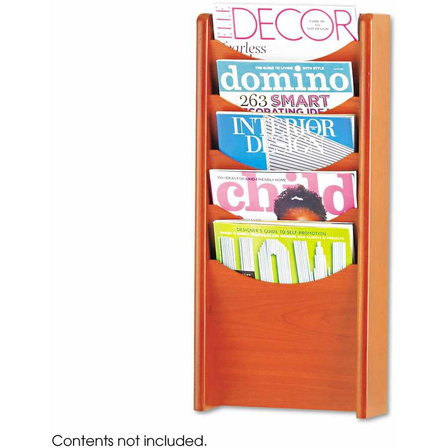 Safco Solid Wood Wall-Mount Literature Display Rack, 11-1/4 x 3-3/4 x 23-3/4, Cherry