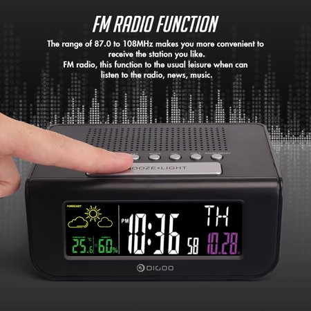 Digoo Digital FM Radio Weather Forecast Station,Snooze Alarm Clock, Humidity Temperature Meter, Calendar with Colorful Screen - image 5 of 8