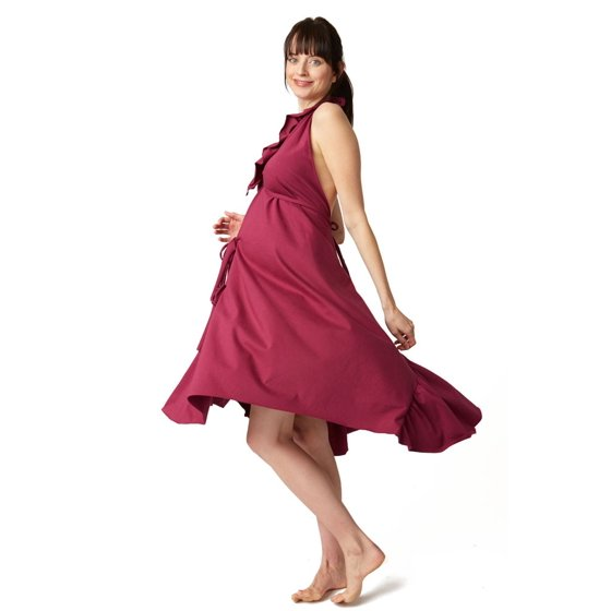 Pretty Pushers Ruffle Cotton Jersey Labor Gown - Plus Size (Wine ...
