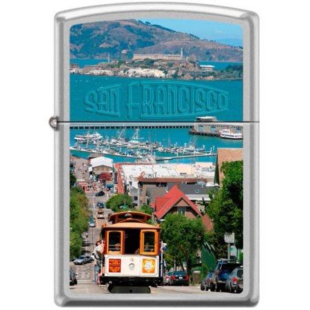 Zippo San Fransisco City Cable Car Scene Alcatraz Lighter RARE