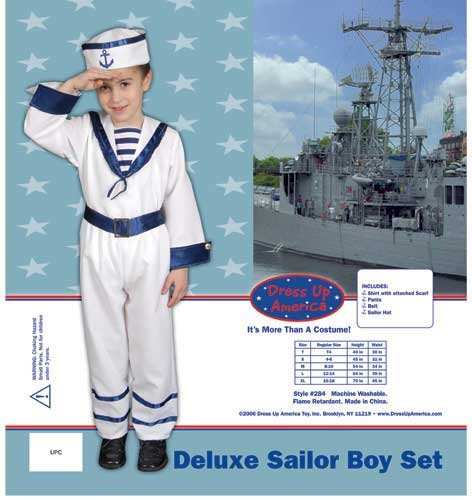 Dress Up America Deluxe Sailor Boy Children's Costume Set