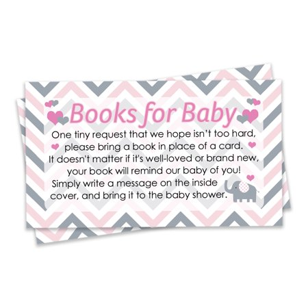 Pink and Gray Elephant Baby Shower Books for Baby Request Cards, 20 Count (Pink Gray Elephant Baby Shower)