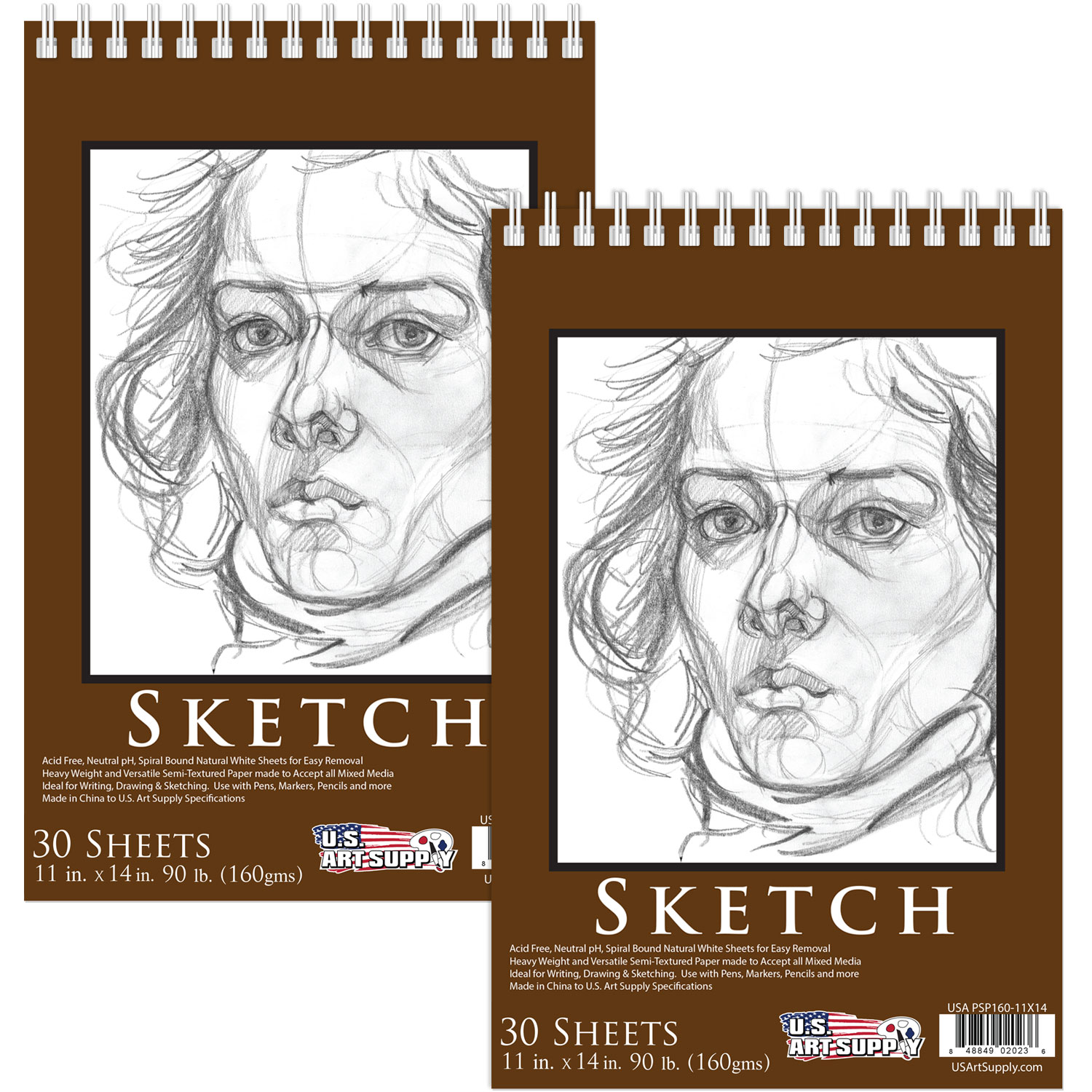 """U.S. Art Supply 11"""" x 14"""" Heavy-Weight Paper Spiral Bound Sketch Pad, 90 Pound (160gsm), Pad of 30-Sheets (Pack of 2)"""
