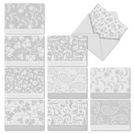 M2342SRG CONDOLENCE CARDS' 10 Assorted Sorry Note Cards Featuring Subtle Floral and Paisley Designs to Help Convey Your Sincerest Sympathy with Envelopes by The Best Card