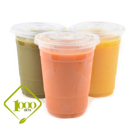 16 Ounce Plastic Lid - (1000 Sets) Plastic Disposable Cups with Lids - Premium 16 oz (ounces) Crystal Clear PET for Cold Drinks Iced Coffee Tea Juices Smoothies Slushy Soda Cocktails Beer Kids Safe (16oz Cups + Flat Lids)