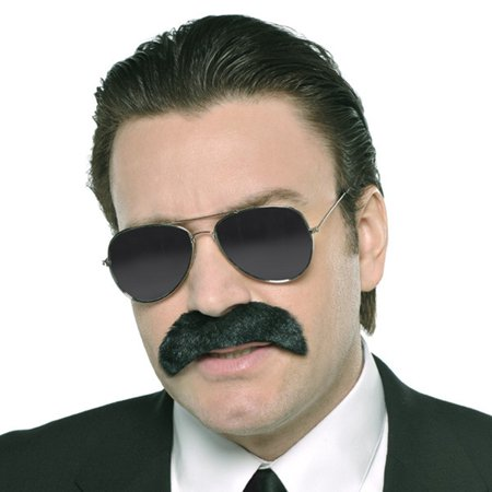 Mustache Black Good Fella Gangster Costume - Mob Gangster Costumes