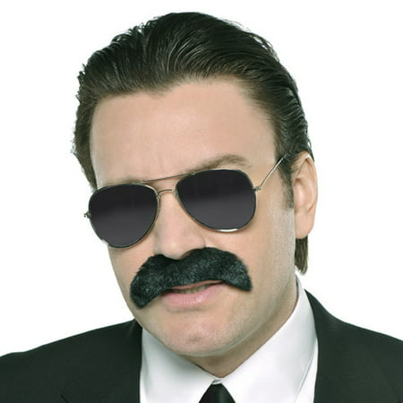 Mustache Black Good Fella Gangster Costume - Mustache Costume