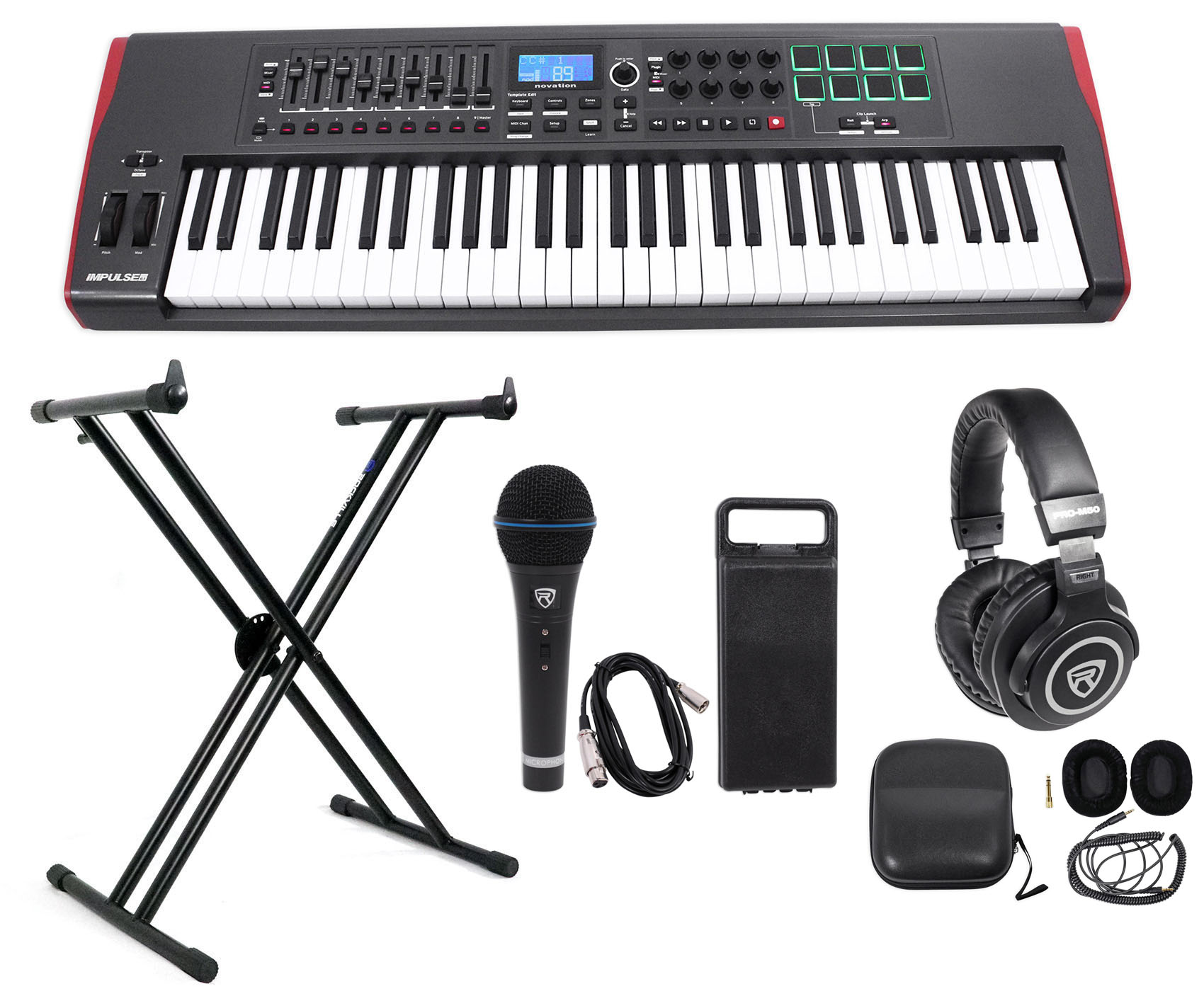 Novation IMPULSE 61-Key Ableton Live Keyboard Controller+Stand+Headphones+Mic by NOVATION