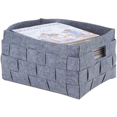 Honey Can Do Multi-Size Woven Felt Storage Bin with Handles, Gray - Felt Baskets