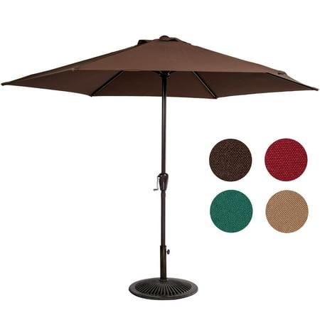 Sundale Outdoor 9FT Patio Umbrella Patio Market Steel With Crank Outdoor Yard Garden ()