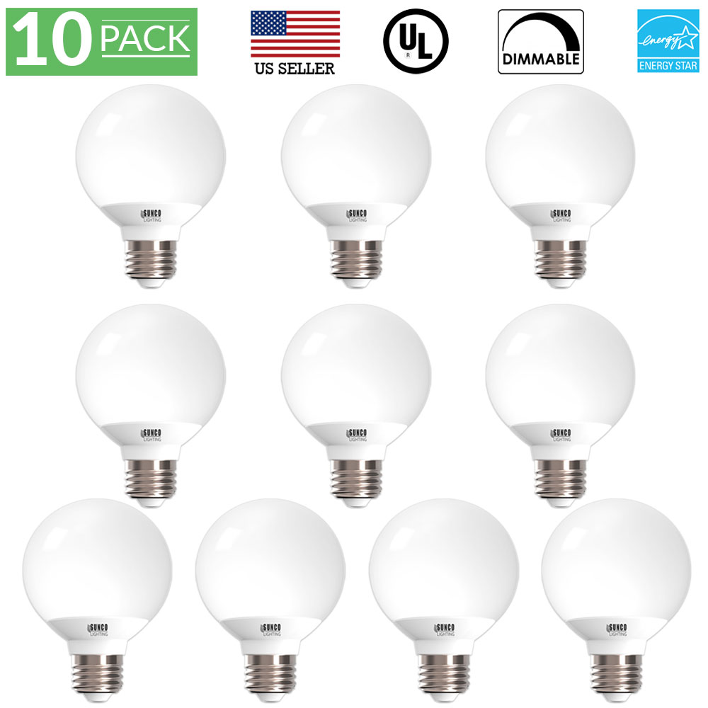 Sunco Lighting 10 Pack G25 Globe LED Light Bulb 6 Watt (40W Equivalent), 3000K Kelvin Warm White 450 Lumens, Dimmable, Omnidirectional Vanity Mirror Light, Energy Efficient - UL & ENERGY STAR LISTED