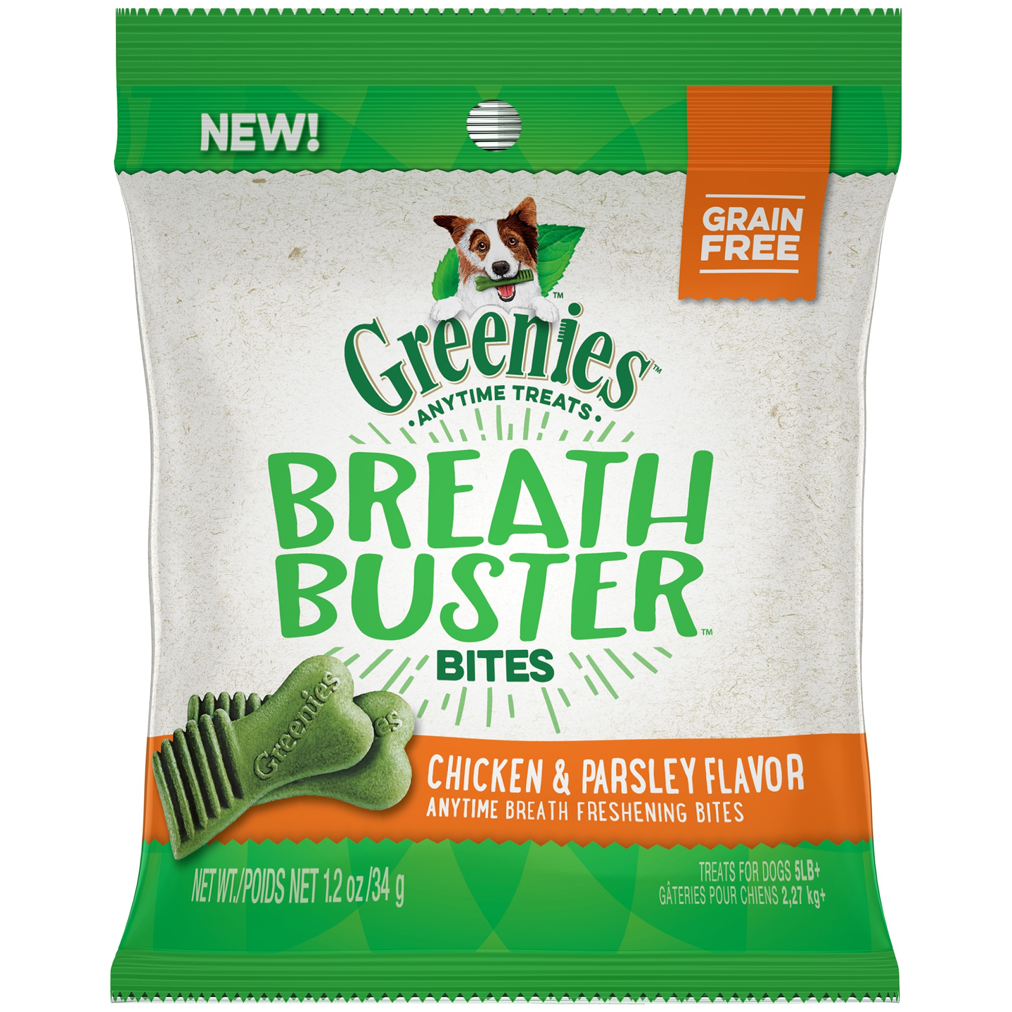 Greenies Breath Buster Bites Chicken & Parsley Flavor Treats for Dogs 1.2 Ounces