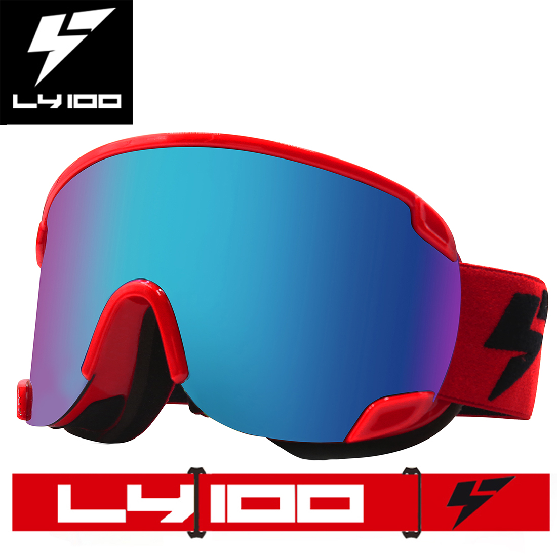 LY-100 Authorized Men Women Snowboard Ski Goggles OTG Anti-fog UV Protection Over Glasses Double Lens Red by
