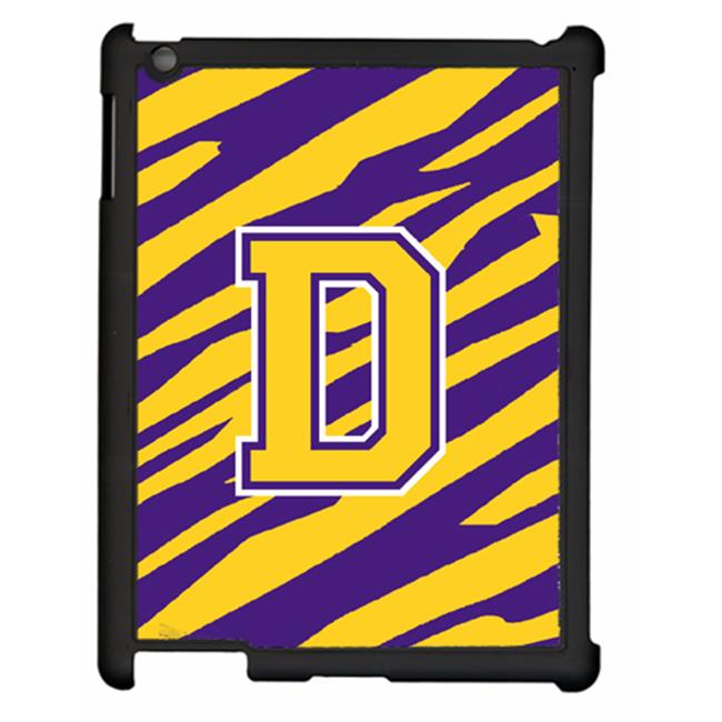 Carolines Treasures CJ1022-D-IPADC Tiger Stripe - Purple Gold Letter D Initial Ipad 2 Ipad 3 Snap On Artcase