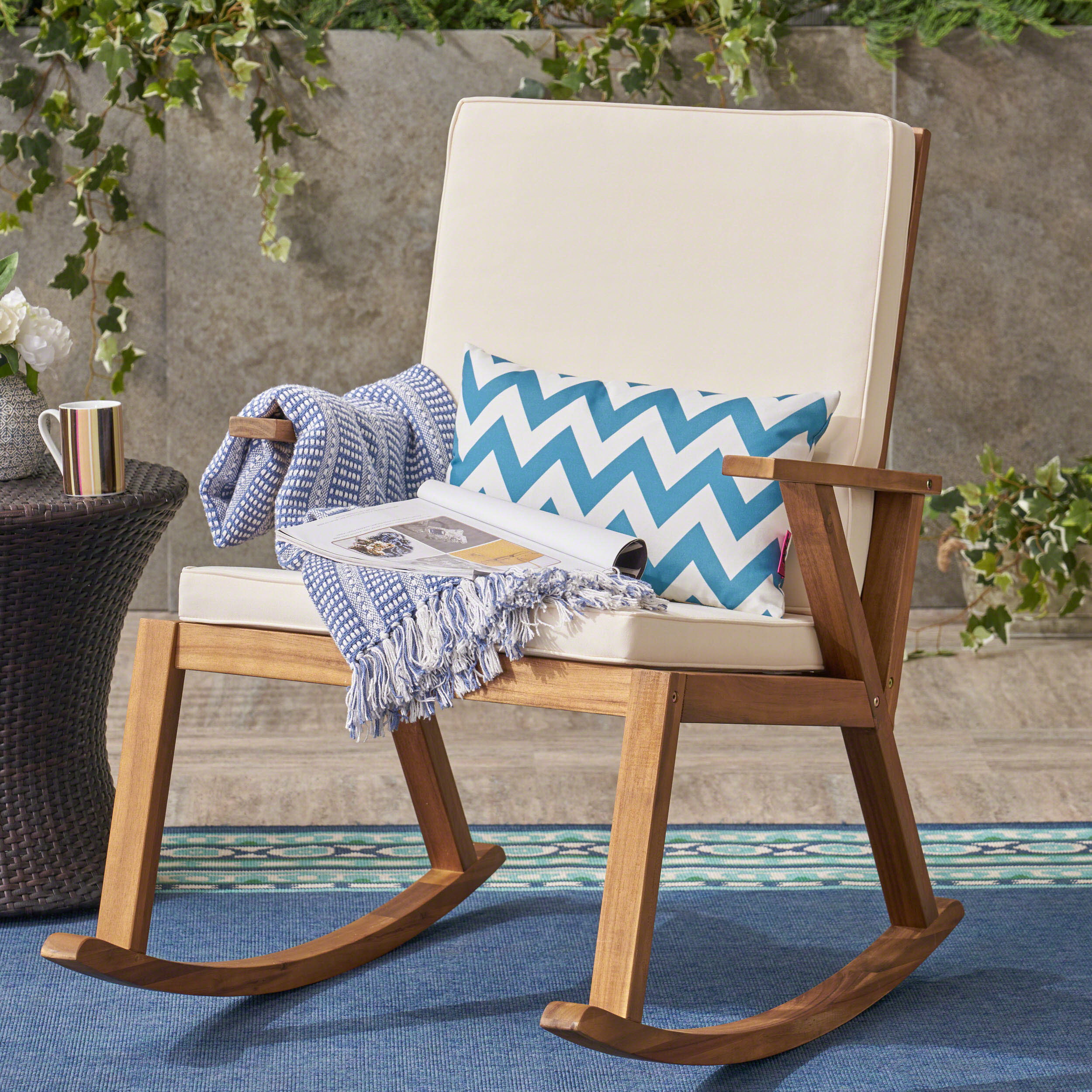 Outdoor Acacia Wood Rocking Chair, with Cushion, Teak,Cream