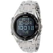 PQ2001 Mens Stainless Steel Watch w World Time Schedule Alarms