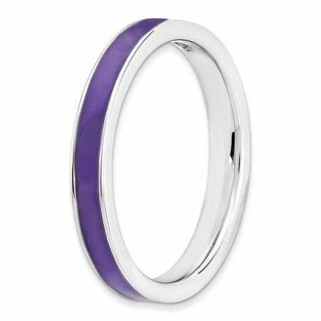 925 Sterling Silver Purple Enameled 3.25mm Band Ring Size 7.00 Stackable Ed Fine Jewelry For Women Gifts For Her - image 3 de 8