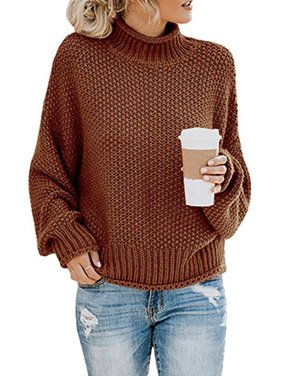Women's Long Sleeve Sweaters Turtleneck Loose Soft Knitted Casual Pullover