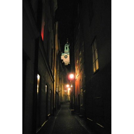 Stockholm Sweden Cobblestone Street At Night Photo Poster Poster Wall Art