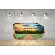 Startonight 3D Mural Wall Art Photo Decor Gate for Paradise Island Amazing Dual View Surprise Wall Mural Wallpaper for Bedroom Beach Art Gift Large 47.24 '' By 86.61 ''