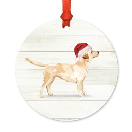 Labrador Retriever with Santa Hat, Includes Ribbon and Gift Bag