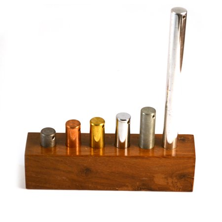 Eisco Labs Premium Equal Mass Cylinders (16mm Dia.), Set of 6 with Wood Base, 100g Metal Cylinders of Varying (Mast Cylinder)