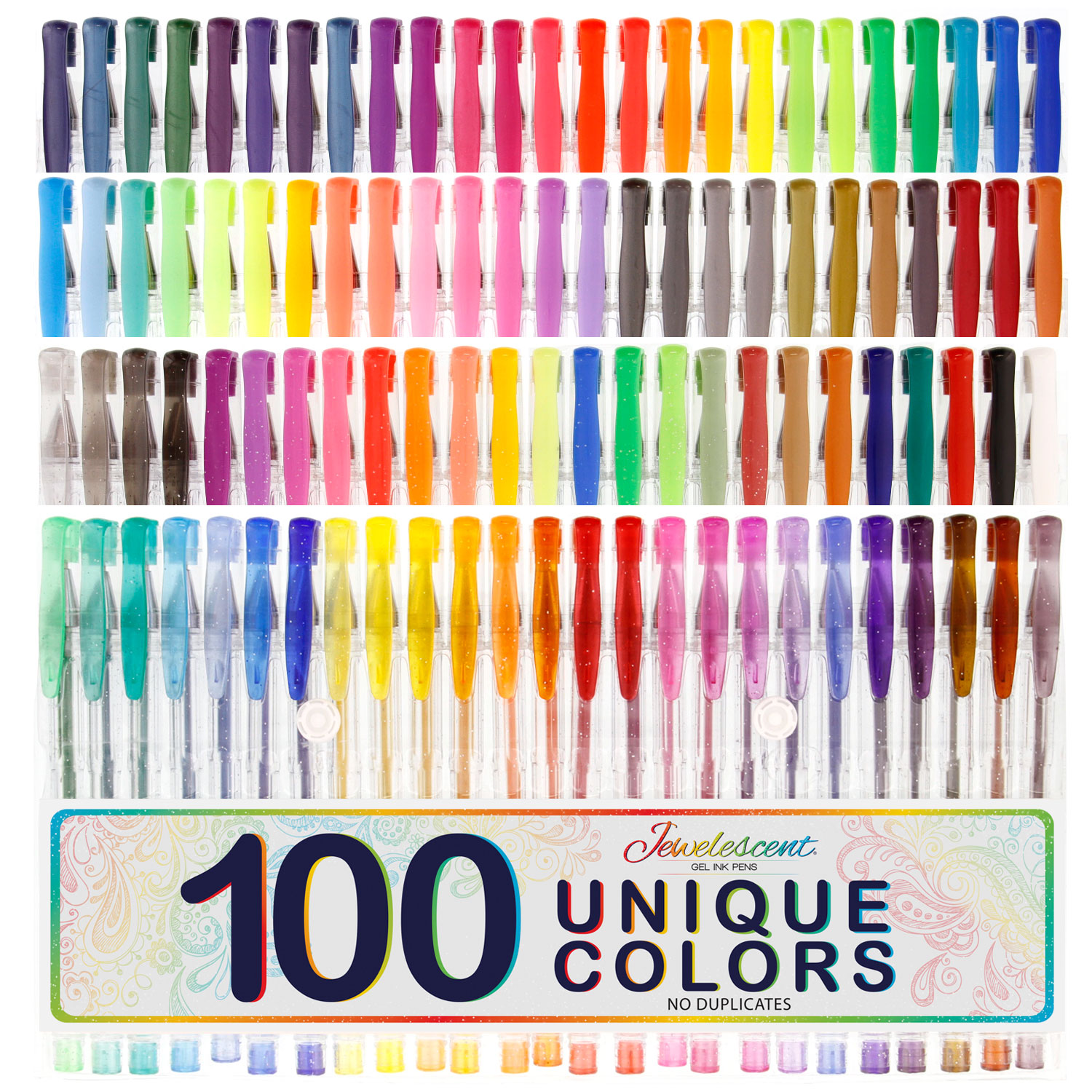 US Art Supply Jewelescent 100 Unique Color Gel Pen Set Artist ...
