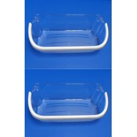 2 x 241808205 for Frigidaire / Electrolux Refrigerator Door Bin Clear / White