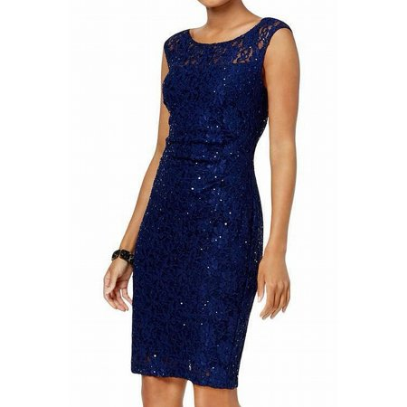 CONNECTED Womens Navy Sequined Lace Sleeveless Jewel Neck Above The Knee Sheath Cocktail Dress  Size: 14