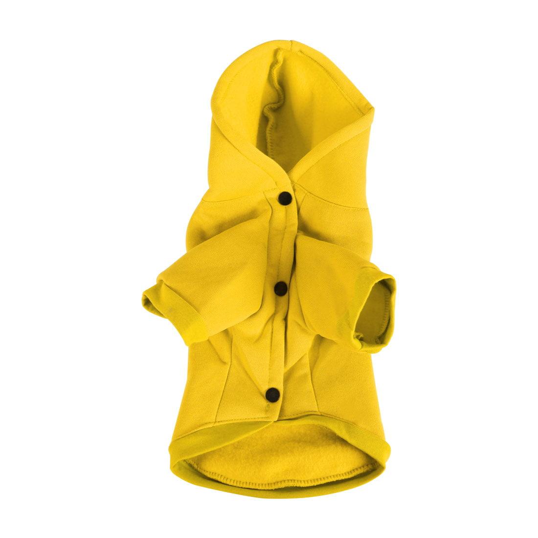 Cotton Dog Sweatshirt Hooded Pet Clothes Fleece Lined w Pocket Yellow XXL