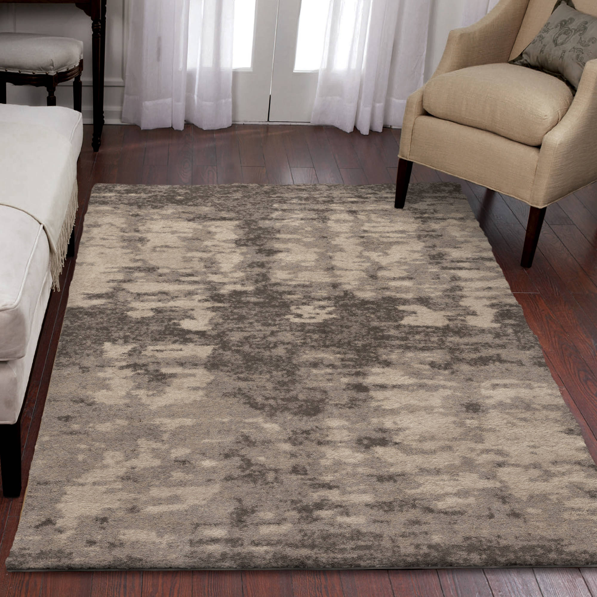 Orian Rugs Plush Abstract Pitkin Grey Area Rug