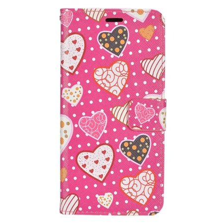 Insten For Samsung Galaxy S8 Pink White Hearts PU Leather Fabric Case with Card Holder Slot