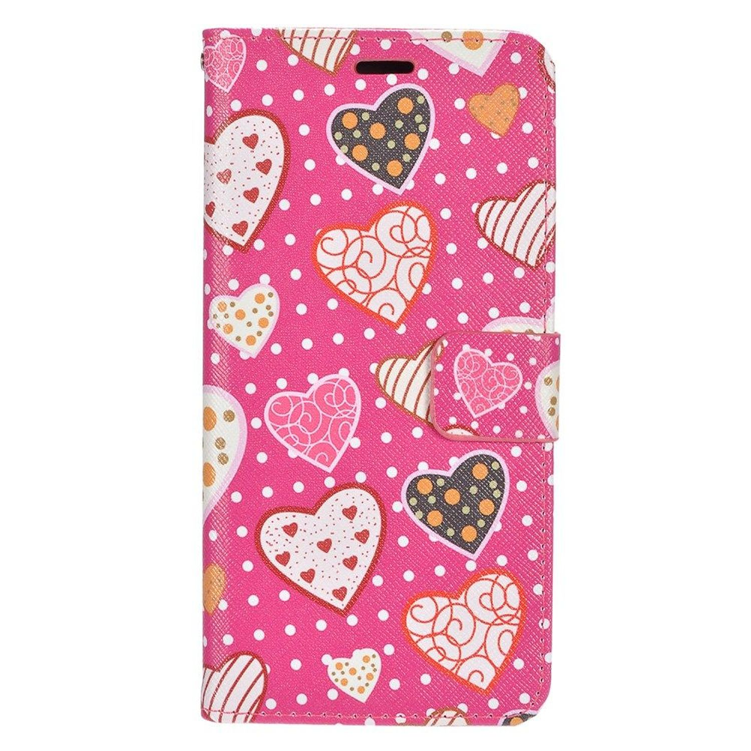 Insten Hearts Stand Folio Flip Leather [Card Holder Slot] Wallet Pouch Case Cover For Samsung Galaxy S8, Pink/White