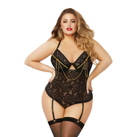 Plus Size Floral Lace Teddy Zipper Underwire Snap Crotch Bodysuit Lingerie