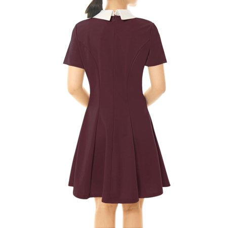Unique Bargains Women Contrast Doll Collar Short Sleeves Flare Dress Pink XL - image 3 of 5
