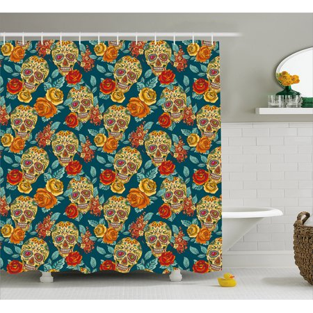 Sugar Skull Shower Curtain Skulls Diamond Shapes In Eyes Roses Bouquets Colorful Pattern Artistic Print