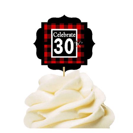 Specially Crafted 30th Birthday / Anniversary LumberJack Buffalo Plaid Novelty Cupcake Decoration Toppers / Picks -12ct - 30th Anniversary Decorations