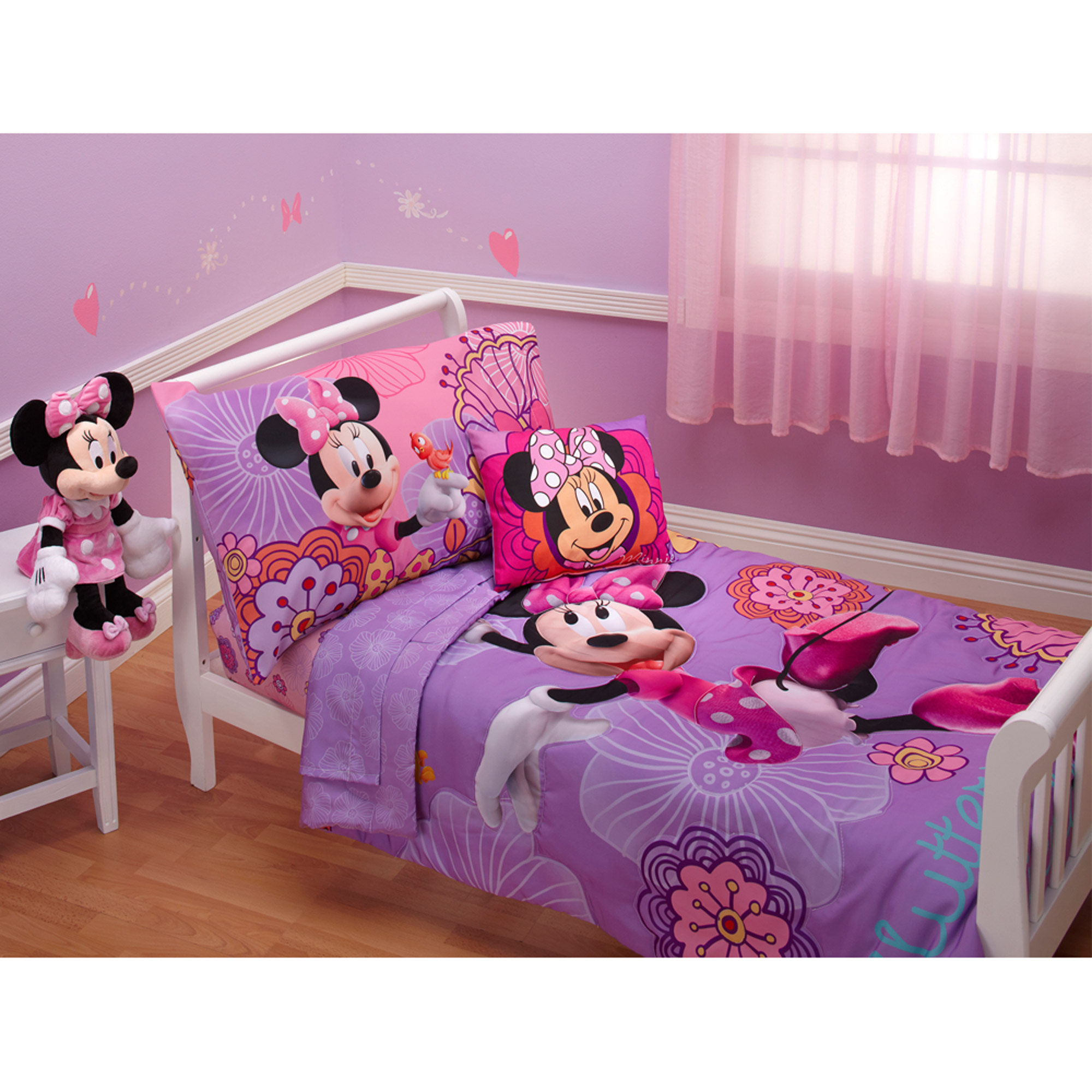 Disney Minnie Mouse Fluttery Friends 3pc Toddler Bedding Set with BONUS Matching Pillow Case