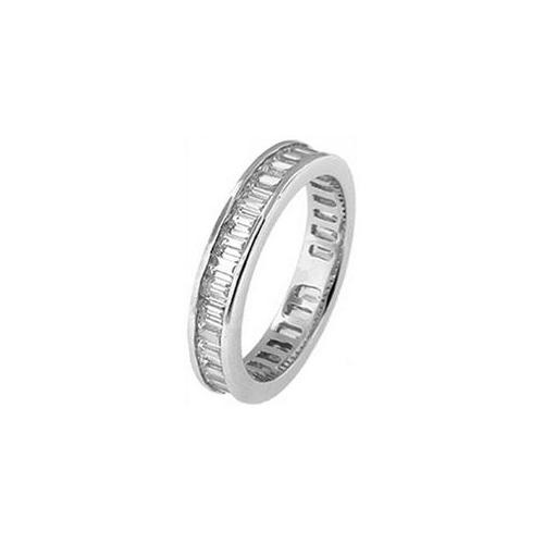 Doma Jewellery DJS03562 - 8 Sterling Silver (Rhodium Plated) Eternity Ring with 3mm Baguette Cut CZ - Size 8
