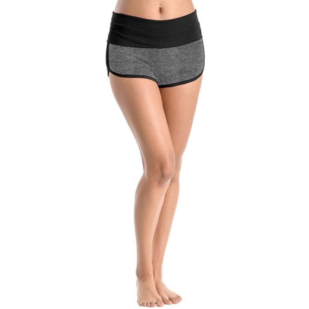 Women's Yoga Fold Over Waist Gym Run Sports Spandex Sexy Shorts Cotton Fitness