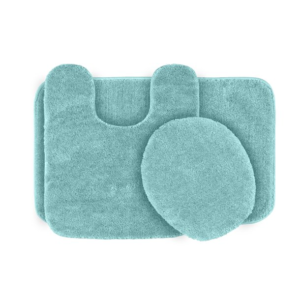 3 Piece Traditional Soft And Plush Nylon Washable Bathroom Rug Set Sea Foam Garland Rugs Walmart Com Walmart Com