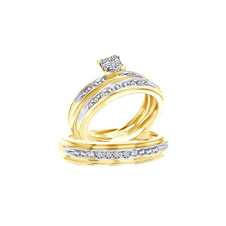 White Natural Diamond Wedding Trio Band Ring Set In 10k Yellow Gold (0.5 Cttw)
