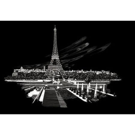 FAM3 Silver Foil Engraving Art Eiffel Tower