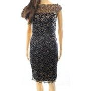 inc womens sheer yoke lace cocktail dress black 4