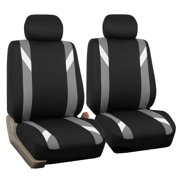 FH Group Premium Modernistic Front Bucket Car Seat Covers for Sedan, SUV, Tuck, Van, Two Front Buckets, Black Gray