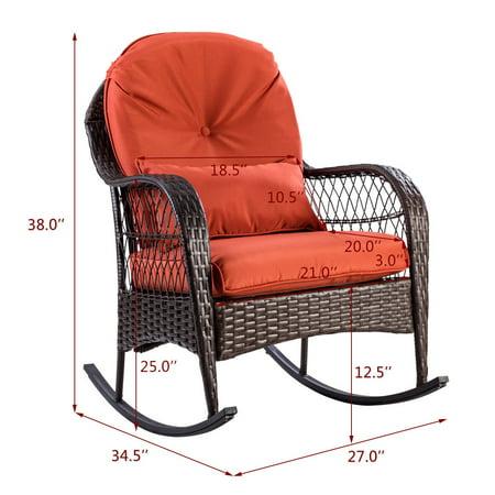 Gymax Patio Rattan Wicker Rocking Chair Porch Deck Rocker Outdoor Furniture W/ Cushion - image 5 of 10